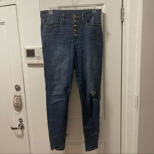 """JCrew 10"""" Button Fly high rise distressed jeans"""